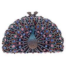 Bonjanvye <b>Glitter</b> Bag and Crystal <b>Peacock</b> Clutch for Girls Evening ...