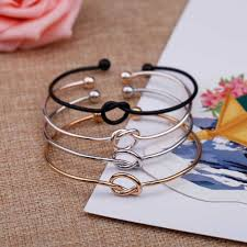 yiustar New Open Love Knot Stretch Copper Bracelets for Women ...