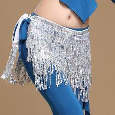 hip gypsy silver sequin <b>belly</b> dance hip scarf wrap belt skirt, Comes ...