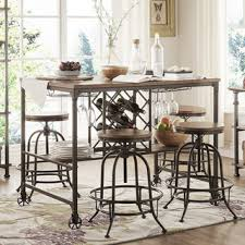 dining room pub style sets: tribecca home berwick industrial style counter height pub dining set with wine rack