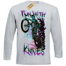 <b>Fun with knives</b> T Shirt biker zombie demon Mens Long Sleeve|T ...