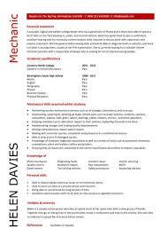 student entry level mechanic resume template