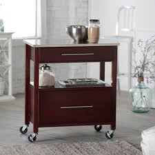 leaf kitchen cart: cart with rustic cherry finished kitchen island with drop leaf and wheels on island