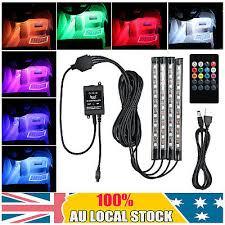 4X <b>USB Car Interior</b> RGB LED Strip Lights Atmosphere Decorative ...