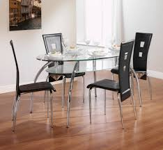 charming restaurant dining furniture set ideas for small spaces presenting oval shape glass top dining table with stainless steel four curved legs and cool charming high dining
