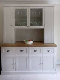 stand kitchen dsc: free standing kitchen dresser funiture with solid oak work surface finished in spray panted matched