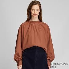 <b>women cotton high</b> neck volume long sleeved blouse