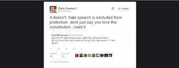cnns chris cuomo first amendment doesnt cover hate speech  cnn anchor chris cuomo received heavy backlash for tweeting that the constitution does not protect hate speech may