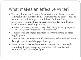 writing workshop what makes an effective writer the essay has a  what makes an effective writer the essay has a clear format  introduction with thesis