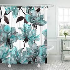 "Emvency 72""x72"" Shower Curtain <b>Waterproof</b> Blue <b>Flower Floral</b> ..."