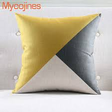 Online Shop New <b>Nordic</b> Pillowcase Yellow <b>Geometric</b> Decorative ...