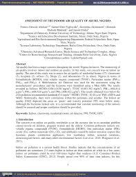 (PDF) Assessment of the <b>Indoor Air</b> Quality of Akure, Nigeria