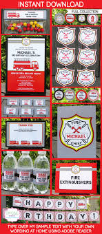 fireman party printables invitations decorations birthday party fireman party printables invitations decorations editable birthday party theme templates instant
