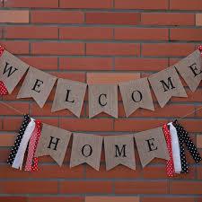 <b>2pcs</b>/<b>set</b> Welcome Home Linen Banner <b>Flag Pennant</b> Bunting ...
