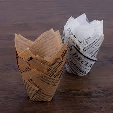 Home & Garden <b>50pcs</b>/lot <b>Newspaper Style</b> Tulip Baking Cups Cake ...