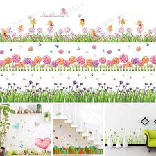 Sale <b>flower green grass</b> butterfly <b>baseboard</b> Wall Stickers <b>Skirting</b> ...