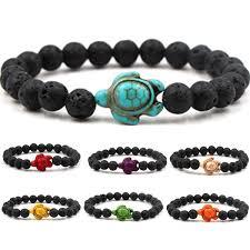Turtle Lava Stone Beads <b>Bracelet Essential Oil Perfume</b> Diffuser ...