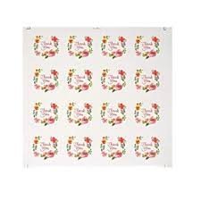 10 Sheets Floral Watercolor Round <b>Thank You Adhesive Label</b>, <b>Self</b> ...