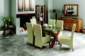Faux Leather Dining Room Chairs Lyon Oak Glass Dining Table Amp 6 Ivory Wing Back Faux Leather Chairs