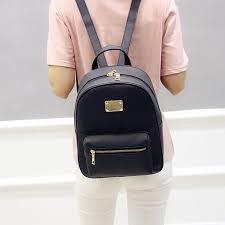 Women Backpack <b>Small</b> Size Black <b>PU Leather</b> Women's ...