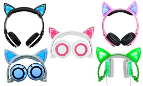TechComm <b>Foldable LED</b> Cat <b>Ear</b> Headphones | Groupon