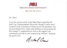awards appreciation letter from asu president michael m crow 2012