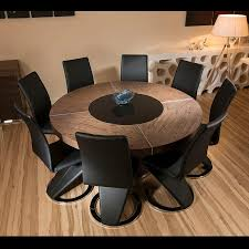 Dining Room Table And 8 Chairs Large Round Elm Wood Dining Table 8 High Black Faux Leather