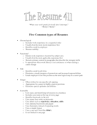 types of resumes   camgigandet orgfive common types of resumes by rlb nuh p r