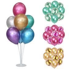 7 Tube Balloon Stands <b>10Pcs 12inch Metal Latex</b> Balloons Confetti ...