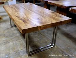 metal dining table base legs bennysbrackets: dining room gorgeous and exotic plank countertop acacia wood dining table with chrome metal