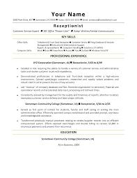 resume receptionist resume cover letter template dental  hotel receptionist