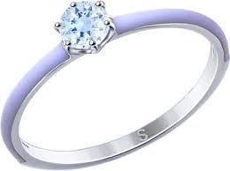 Серебряное <b>кольцо SOKOLOV</b> 94012772_s с эмалью, фианитом ...