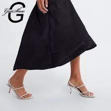 <b>GENSHUO White High Heels</b> Sandals For Summer Narrow Band ...