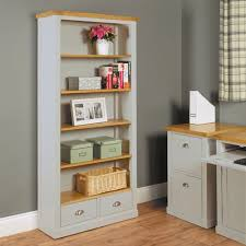 baumhaus chadwick large bookcase with two drawers grey painted with oak top baumhaus chadwick grey painted hidden home office