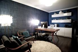 modern wall cabinets west 14th media room example of a trendy home office design in blue office room design