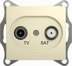 <b>Розетка телевизионная</b> Glossa (TV+SAT, под рамку, с/у, бежевая ...