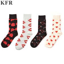 Mens Rose Lips Heart Socks Funny Cotton <b>Happy</b> Socks European ...