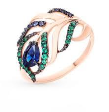 Золотое кольцо с фианитами <b>SOKOLOV</b> 017080*: красное и ...