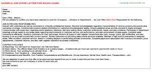 Clerk Job Title Sales Clerk Job Offer Letter