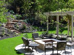 outdoor inspirational backyard landscaping idea with square fire pit feat black iron patio furniture backyard landscaping ideas for much better and modern black iron outdoor furniture