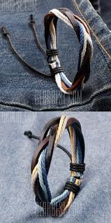 Retro Faux <b>Leather Rope</b> Twisted Bracelet For <b>Men</b> … | Bracelets for ...