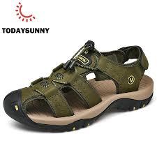 Classic Mens Sandals <b>Summer</b> Comfortable <b>Velcro</b> Soft Sandals ...