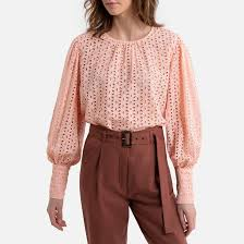 <b>Блузка</b> с длинными <b>рукавами</b> с английской вышивкой розово ...