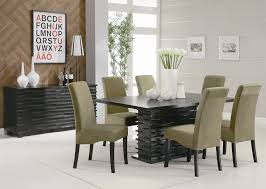 Dining Room Chair Designs Green Leather Upholstsred With Black Wooden Legs Combined With