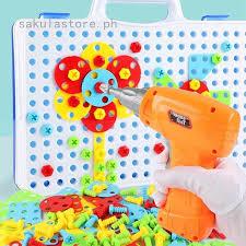 Children <b>Drill Puzzle Educational Toys</b> KidsTool Kit Plastic Design ...