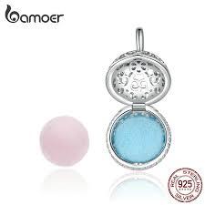 BAMOER <b>925 Sterling Silver Perfume</b> Locket Charm with Two Felt ...