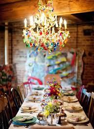 rainbow chandelier dining decor bohemian lighting