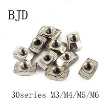 100Pcs 30 Series <b>T nut</b> Hammer Head Nut <b>M3</b>/<b>M4</b>/<b>M5</b>/<b>M6</b> Connector ...