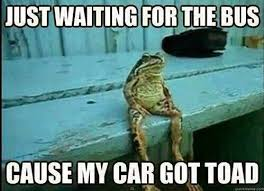 Funny pun meme picture - just waiting for the bus cause my car got ... via Relatably.com