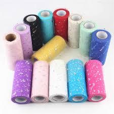 <b>15cm</b> *25 Yards Star Confetti Glitter Tulle Mesh Roll Spool <b>Soft</b> ...